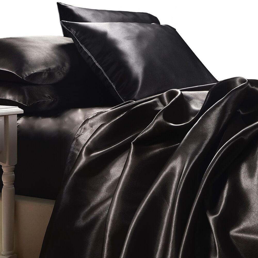 BLACK SATIN SHEETS KING Size 4pc Bedding Set Luxury Soft