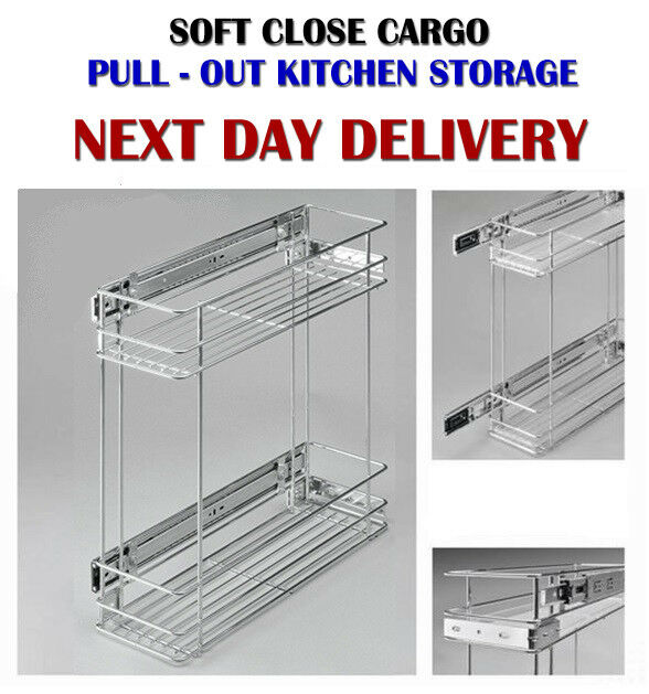Pull Out Wire Basket Base Cabinet Chrome Kitchen Storage: OUT CARGO WIRE BASKET KITCHEN STORAGE CUPBOARD SOFT