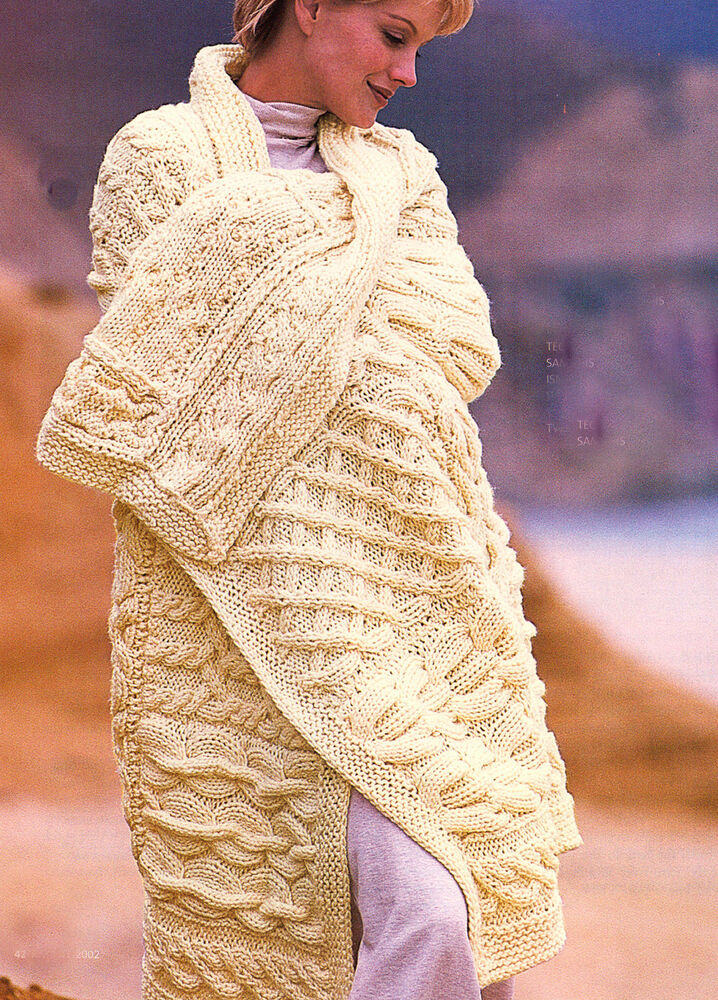 Aran Knitting Patterns For Throws : Aran Style Cable Patchwork Sampler Throw/Afghan/Blanket in Chunky Wool To Kni...