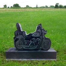 Monument Black Granite Motorcycle Head Tomb Grave Marker Cemetery Stone MN-105