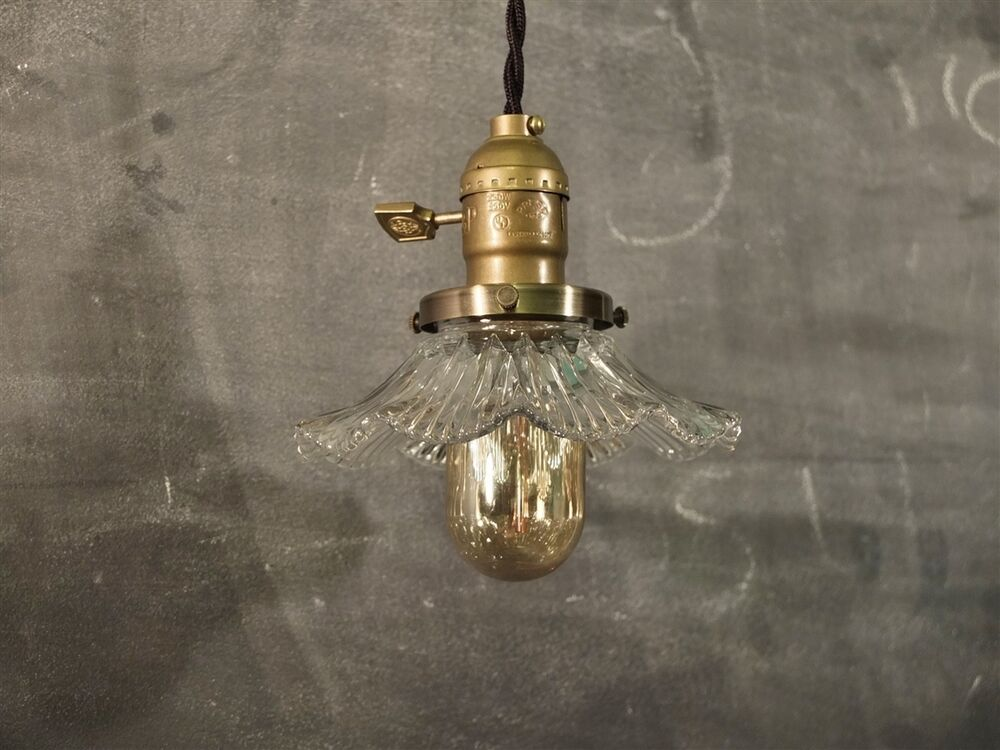 Vintage Industrial Hanging Light With Glass Ruffle Shade Machine Age Minima