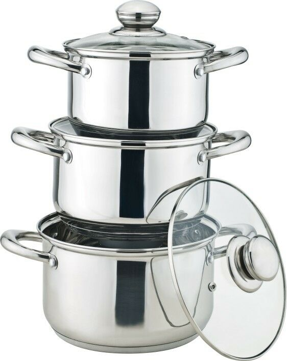 Royal cuisine 3 piece stainless steel stock pot set ebay for 3 pieces cuisine