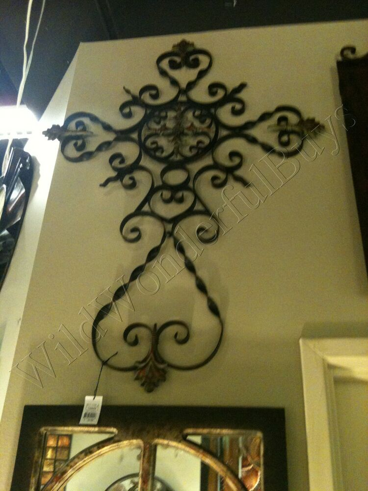 large tuscan wrought iron medallion center cross wall. Black Bedroom Furniture Sets. Home Design Ideas