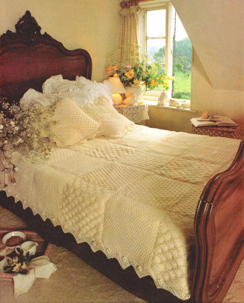Beautiful Vintage Patchwork Bedspread Quilt Amp Cushions 60