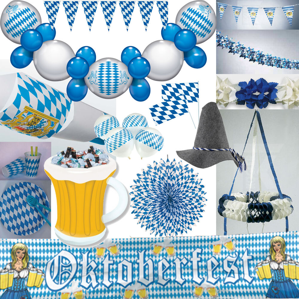 oktoberfest dekoration bayern party bavaria blau weiss bayrische deko set mass ebay. Black Bedroom Furniture Sets. Home Design Ideas
