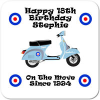 Personalised 18th | 21st | 30th Birthday Moped Style Scooter Gift Coaster