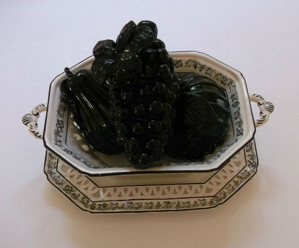 ... , BLACK & WHITE, PLATE, FRUIT BOWL, 3 PC. BLACK GLASS FRUIT | eBay