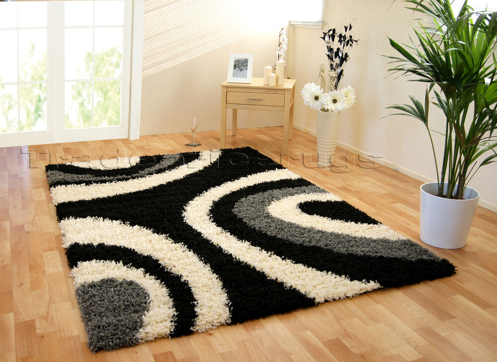 Large Black And White Area Rugs: EXTRA LARGE THICK SHAGGY BLACK GREY CREAM / IVORY
