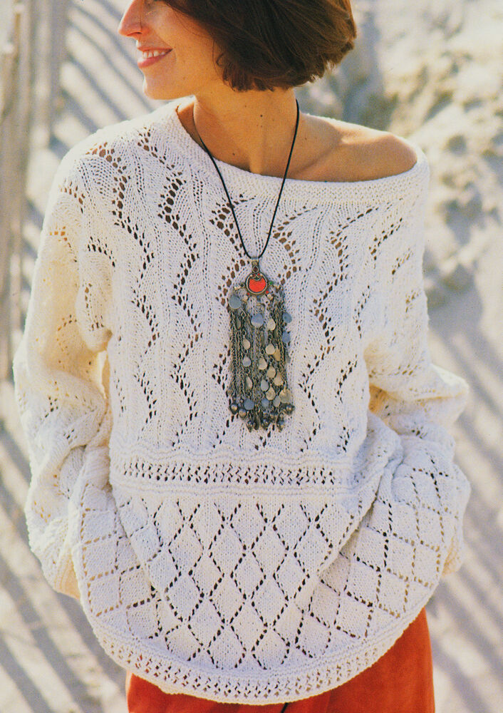Summer Sweater Knitting Patterns : Lace Sampler Summer Sweater Knitting Pattern S-M-L in DK Cotton/Silk eBay
