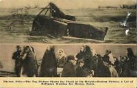 Postcard OH Ohio Dayton 1913 Flood Refugees Waiting for Rescue Boats RPPC