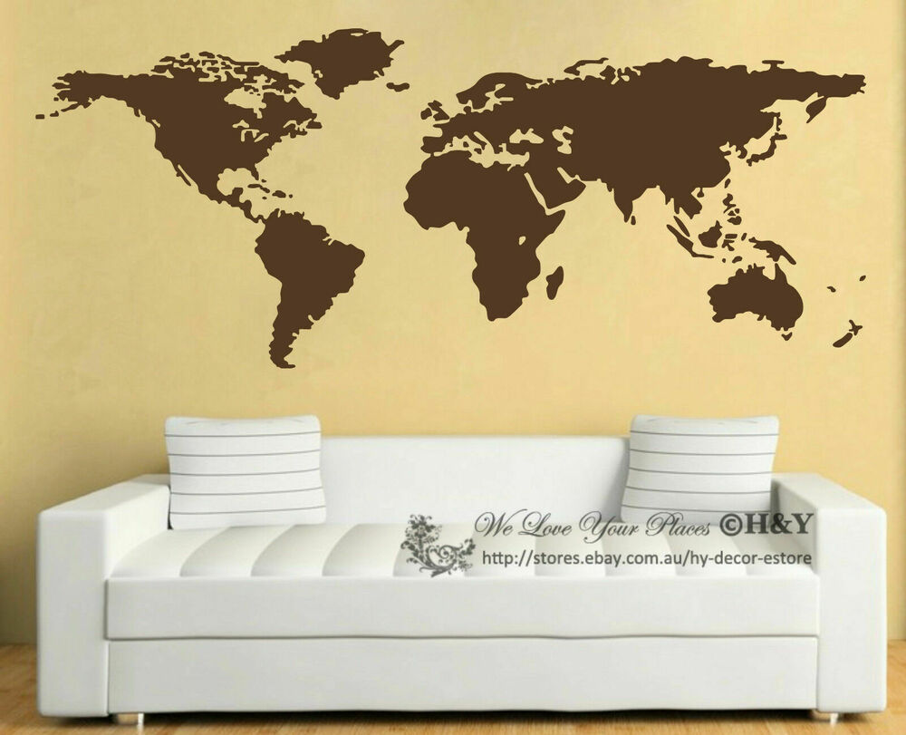 World Map Wall Art Vinyl Decal Stickers Home Decor