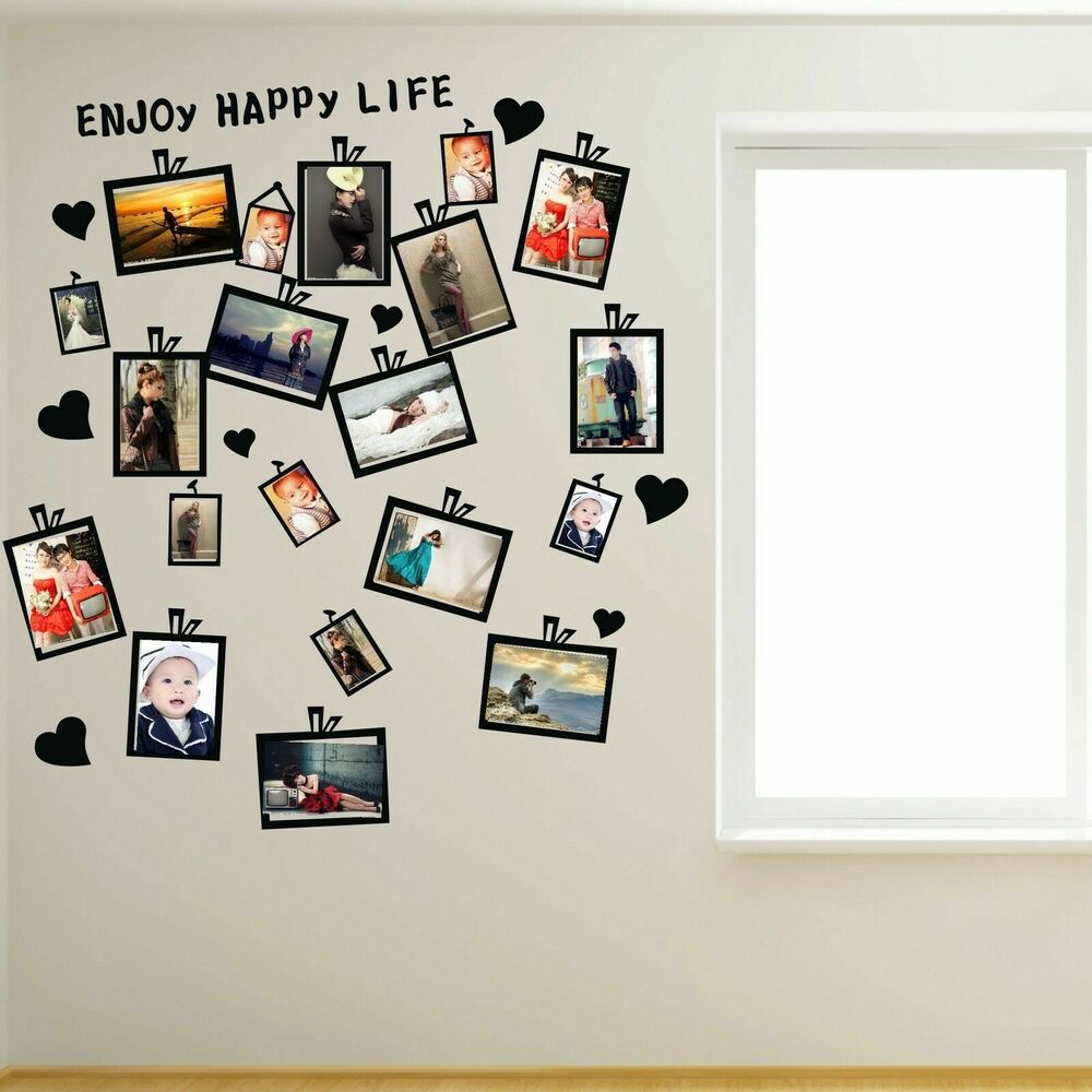 20 pcs picture photo frame set wall black sticker vinyl for Stickers de pared