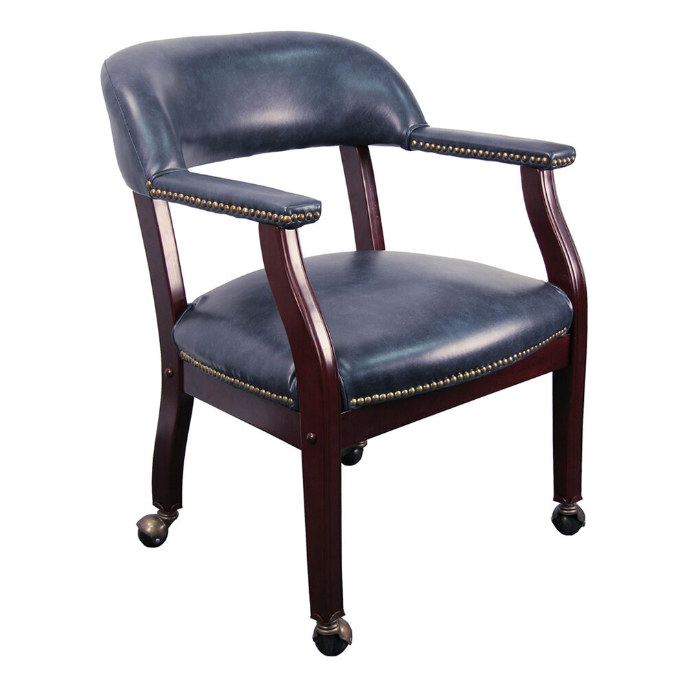 Conference room chairs navy blue vinyl chair on casters for 2 furniture casters