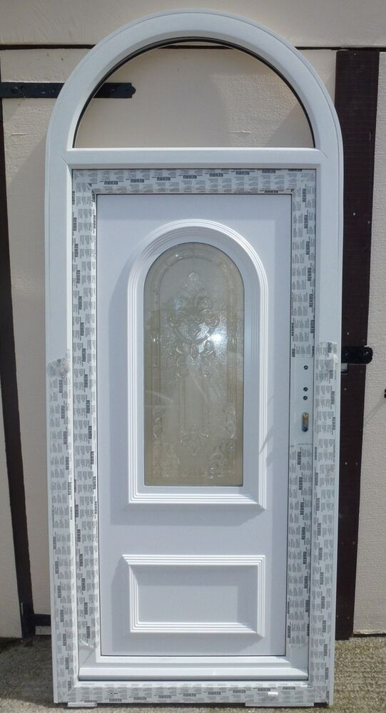 960mm x 2370mm arched top white upvc front door porch for Porch door and frame