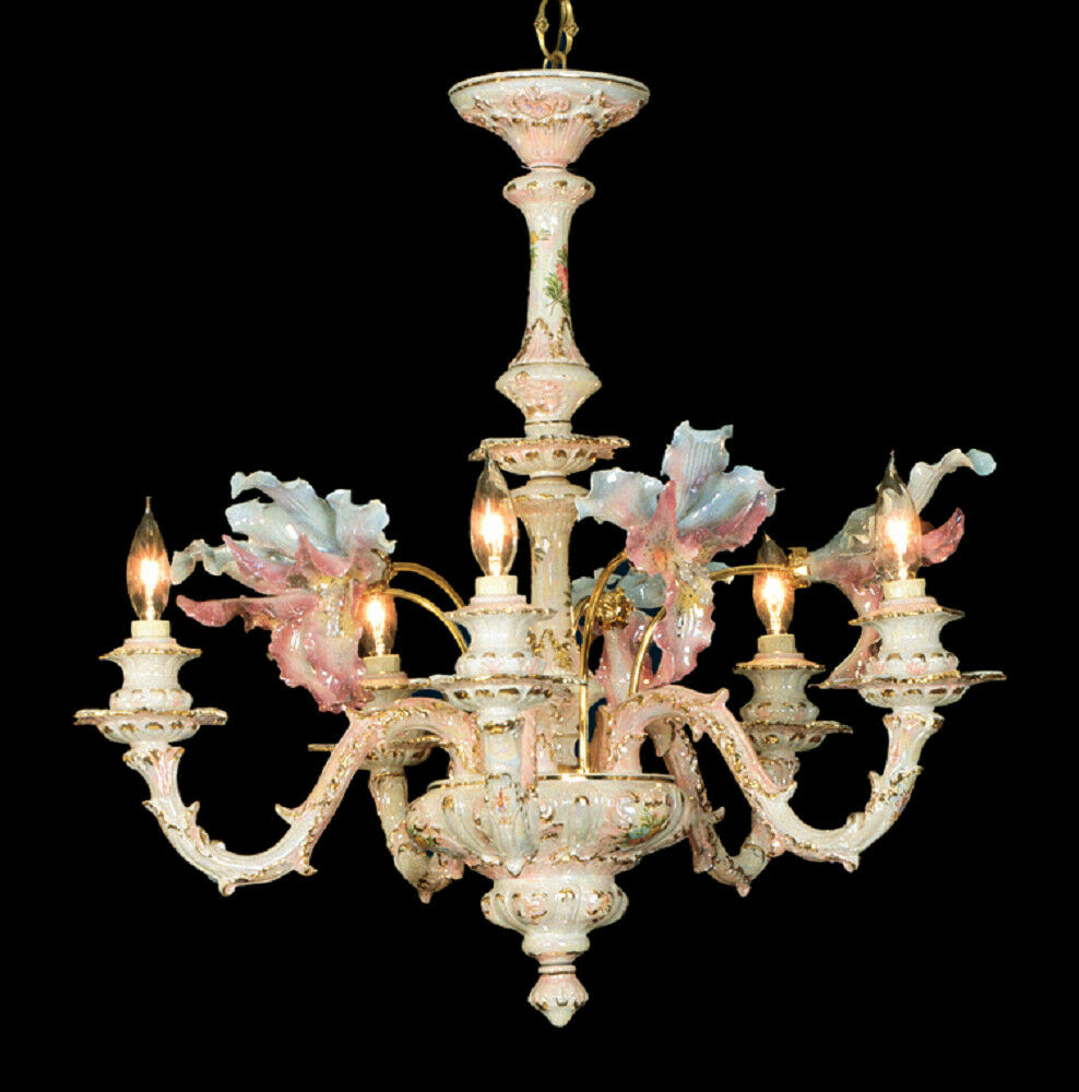 Capodimonte mother of pearl chandelier 5 light new ebay - Lighting and chandeliers ...