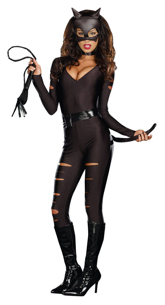 Night Prowler Sleek N Sexy Catwoman Black Suit Adult Womens Costume Halloween  Ebay-5724