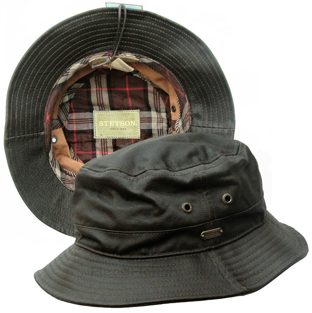 Stetson Waxed Cotton Bucket Safari Outback Hat Brown