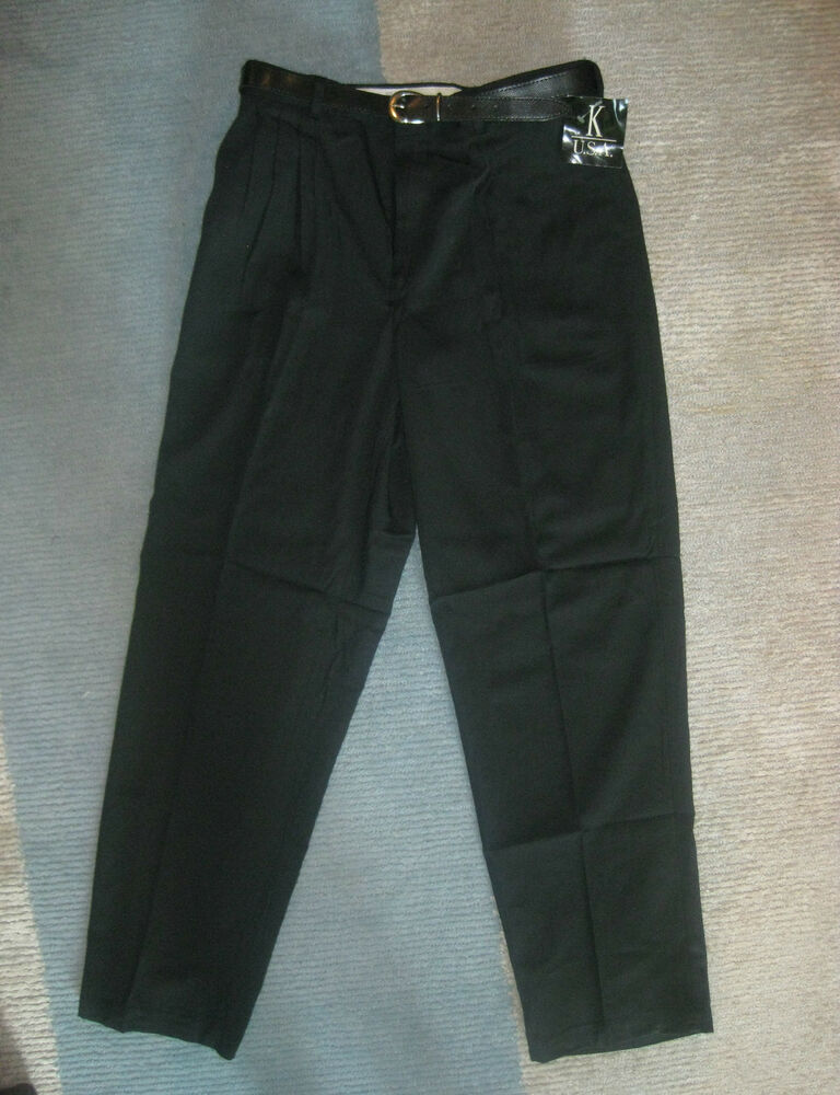 mens pants black trousers belt new 32 34 42 44 46 48 50 unhemmed k usa ebay. Black Bedroom Furniture Sets. Home Design Ideas