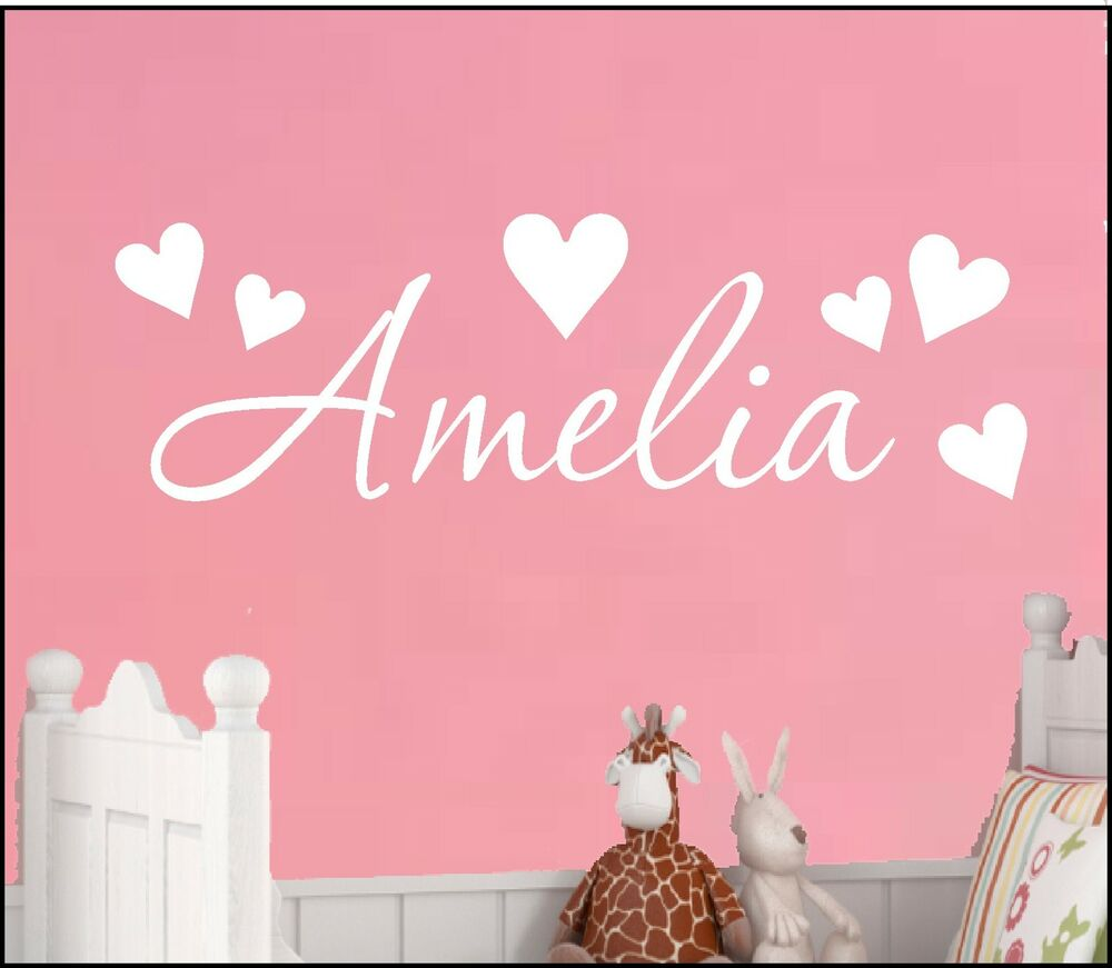 Diy Wall Art Name : Personalised name heart wall art sticker newborn nursery