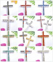 Fashion Crystal Silver Curved Side Ways Cross Findings Beads Jewelry Connectors