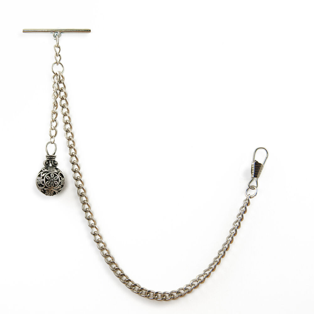 new silver colour albert pocket chain fob with t bar