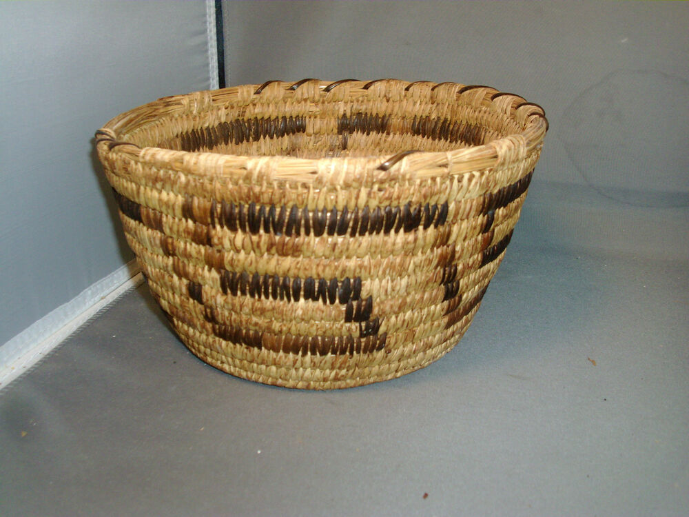 Basket Weaving Origin : Native american indian grass hand woven basket early th