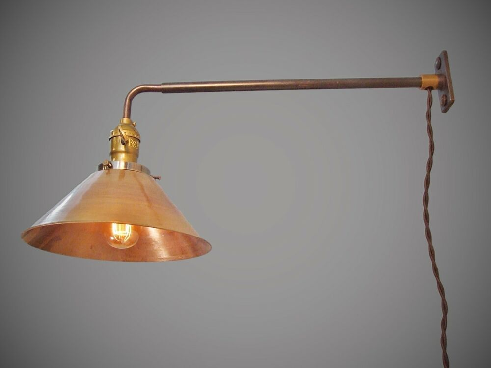 Wall Mount Lamp With Shade : Vintage Industrial Wall Mount Light - BRASS SHADE - Machine Age Cage Lamp Sconce eBay