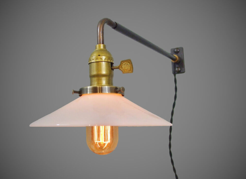 vintage industrial wall mount light opal shade machine. Black Bedroom Furniture Sets. Home Design Ideas