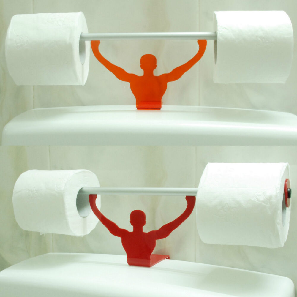 Funny bathroom toilet paper tissue roll holder strong man weightlifter stand new ebay Funny toilet paper holders