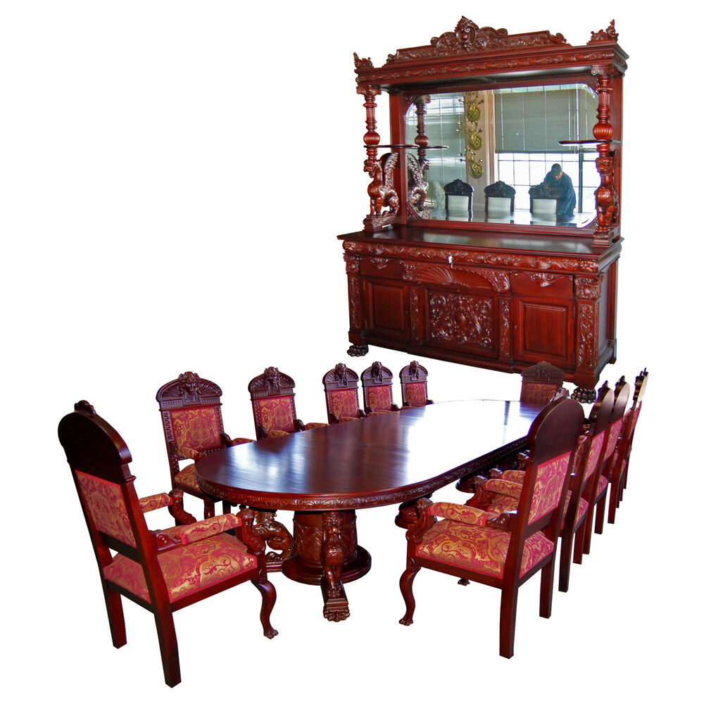 R j horner 15 pc winged griffin carved mahogany dining room set 7203 ebay - Pc dining room set ...