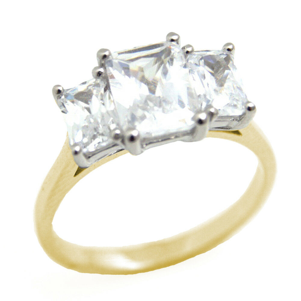 diamond unique emerald cut trilogy ring 9ct gold ebay