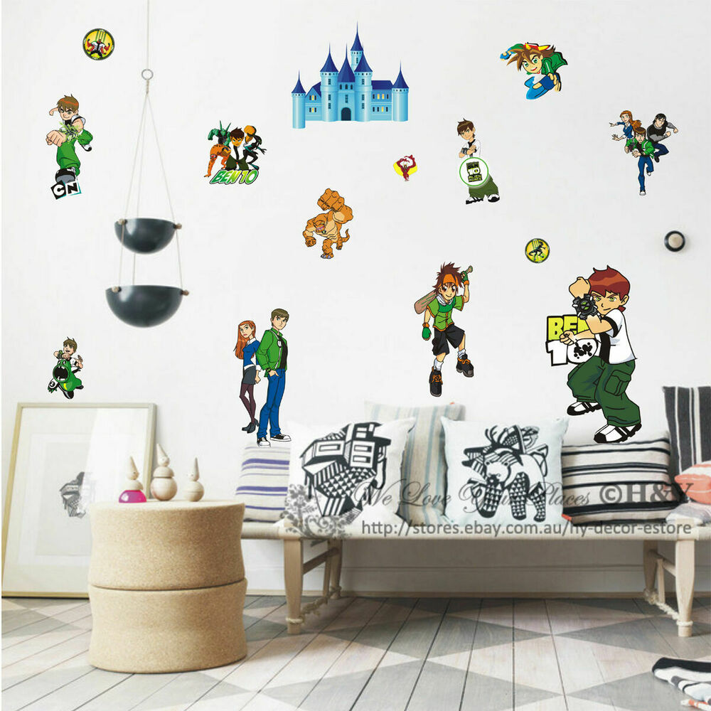 New ben 10 removable wall stickers nursery baby decor for Boys wall art