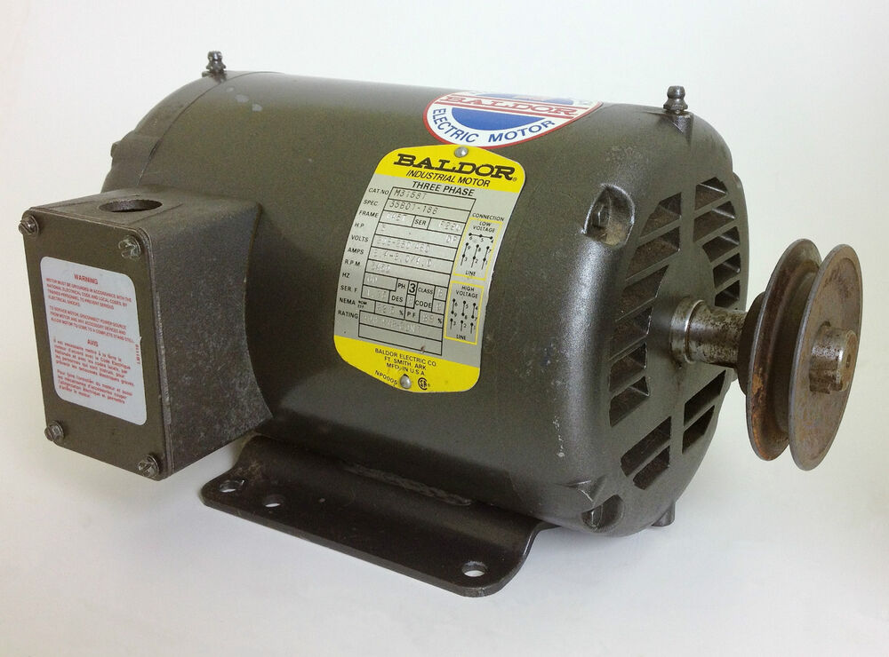 Baldor motor m3158t 3 phase 3450rpm 208 230 460v 60hz ebay for 3 phase 3hp motor