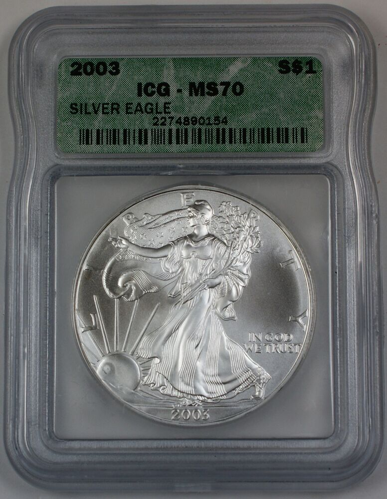 2003 American Silver Eagle Coin Icg Ms 70 Perfect Coin