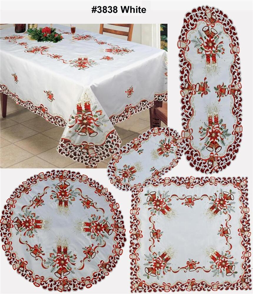 Christmas Poinsettia Bell Candle Placemat Table Runner