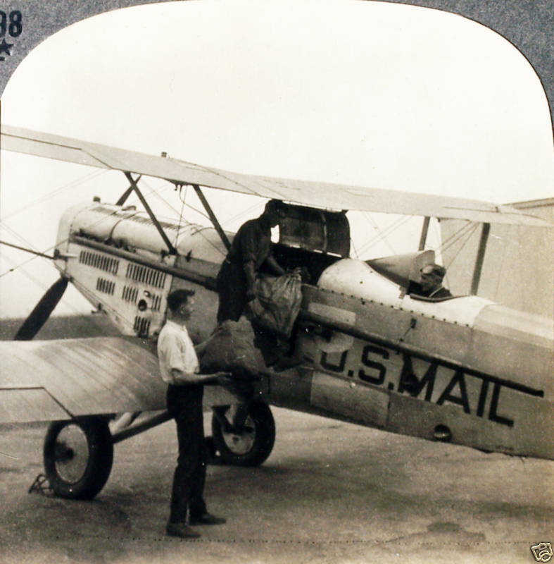 Keystone Stereoview Of The US Air Mail Plane, Cleveland