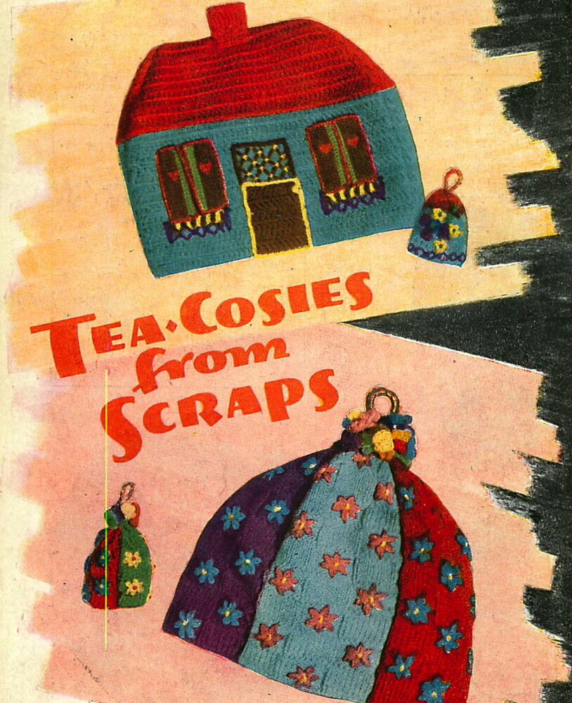 Wartime Knitting Patterns : 2 Vintage 1940s wartime tea cosy patterns made from scraps-1 knitting, 1 croc...