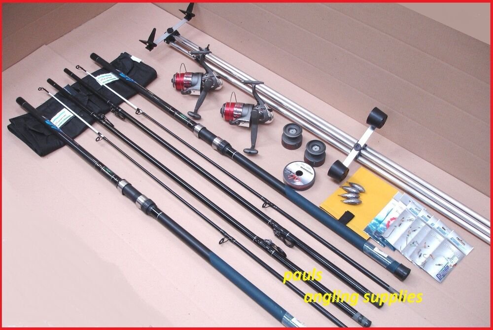 Shakespeare 13ft sea fishing beach beachcasting rods reels for Fishing pole kit