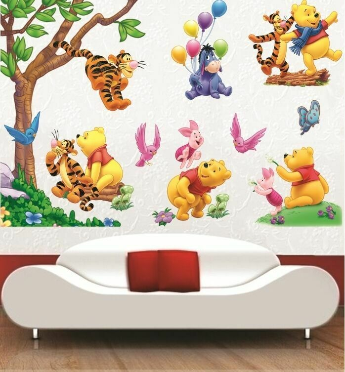 large winnie the pooh wall art decal removable nursery kids stickers home decor ebay. Black Bedroom Furniture Sets. Home Design Ideas