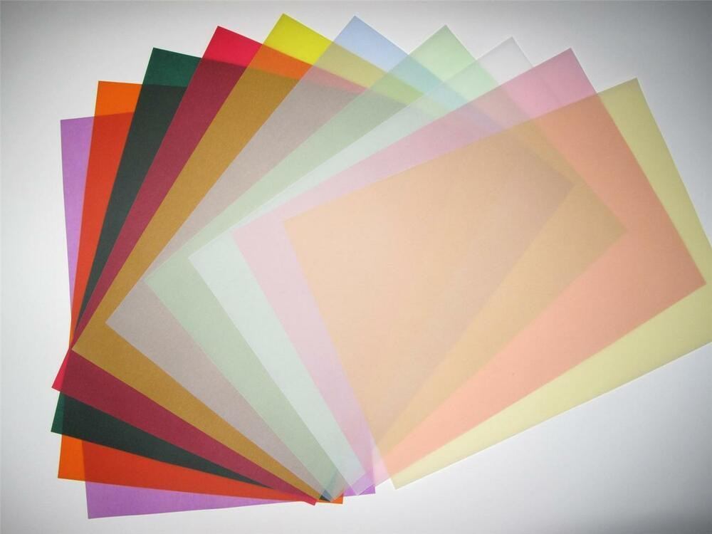 vellum coloured translucent tracing paper x 20 a4 100gsm 10 colours
