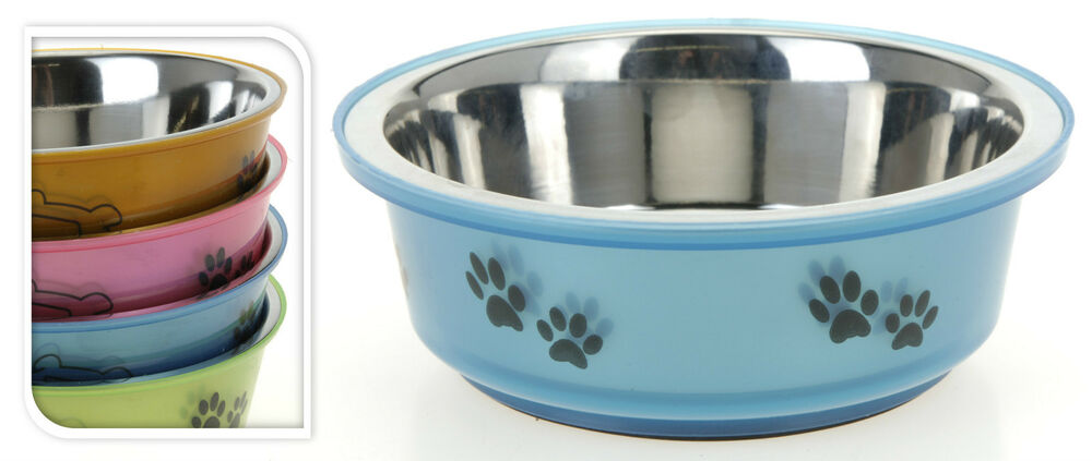 Small Stainless Steel Dog Pet Feeding Water Bowl Rubber