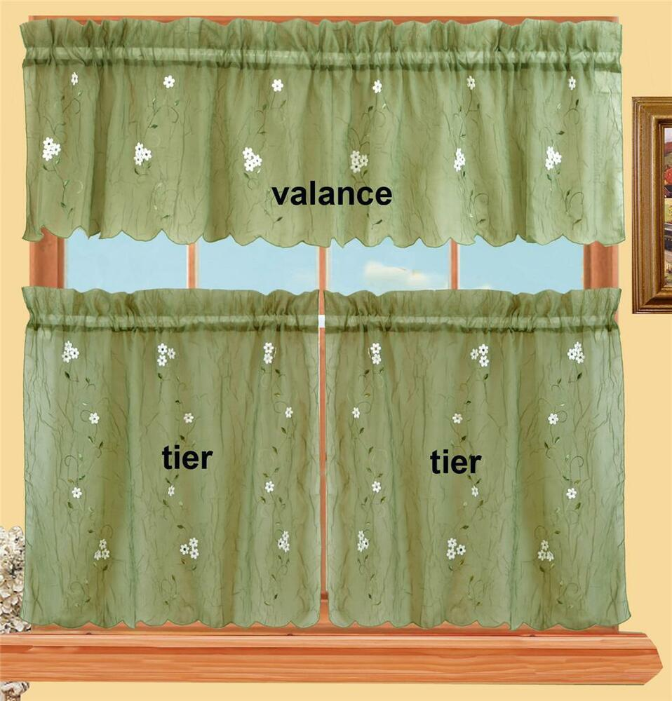 Daisy Kitchen Curtain Valance 24 Tiers 3pcs Sage Green New Ebay