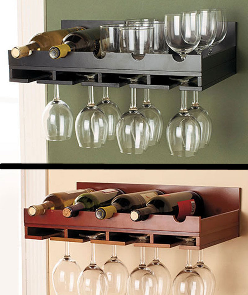 Wooden Wine Rack In Stock Wall Mount Hanging Glass Holder