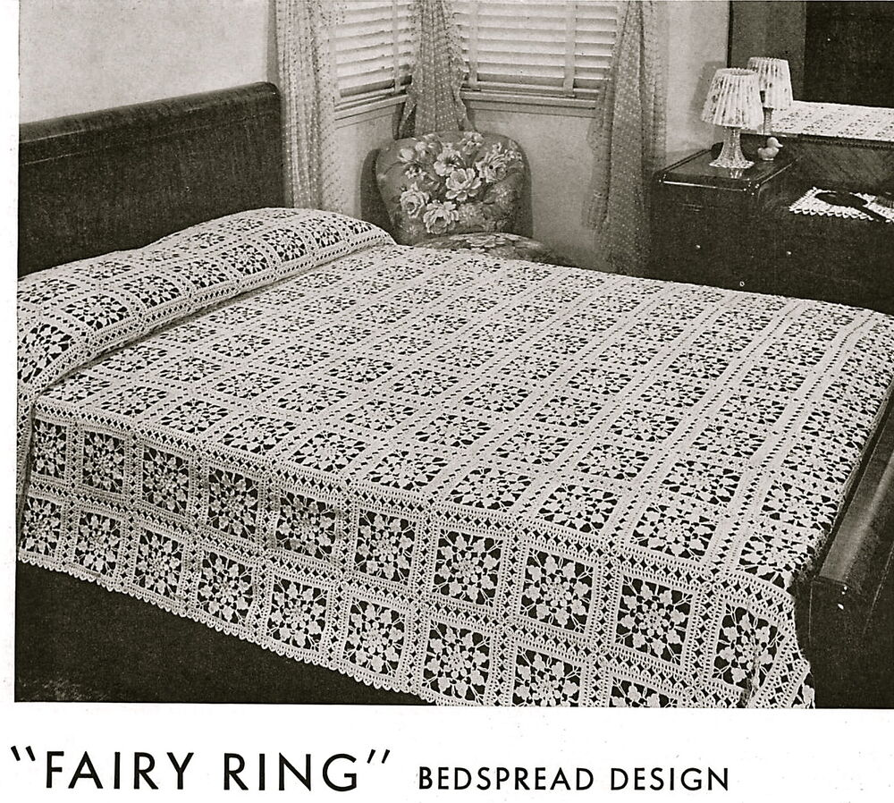 Vintage crochet pattern-pretty lace bedspread made from ...