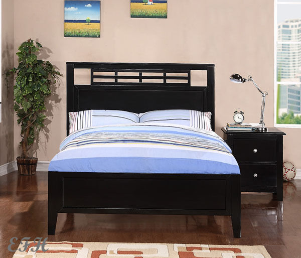 new menno contemporary black finish wood twin or full size bed ebay. Black Bedroom Furniture Sets. Home Design Ideas