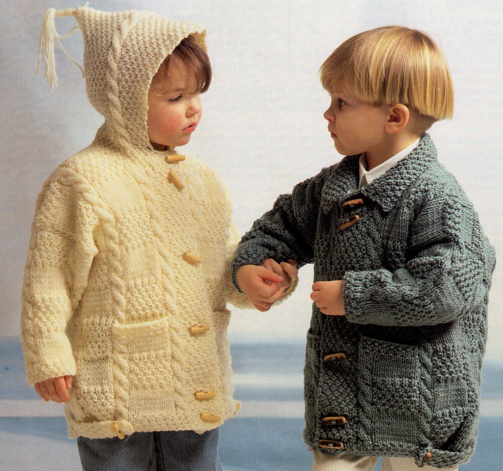 Knitting Pattern Child Jacket : Aran Patchwork Duffle Coats Collar/Hood 20
