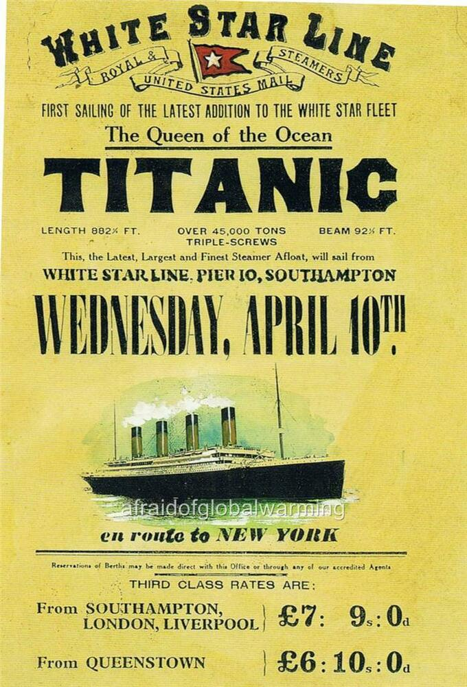Old Print. Ad - 1st Sailing of Titanic - The White Star ...