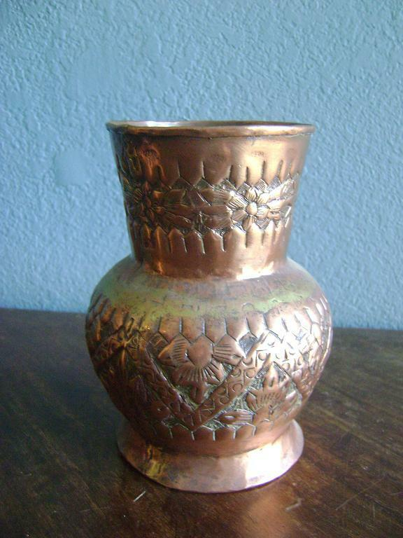 antique copper vase arts crafts repousse vintage copper vase urn vase 1264