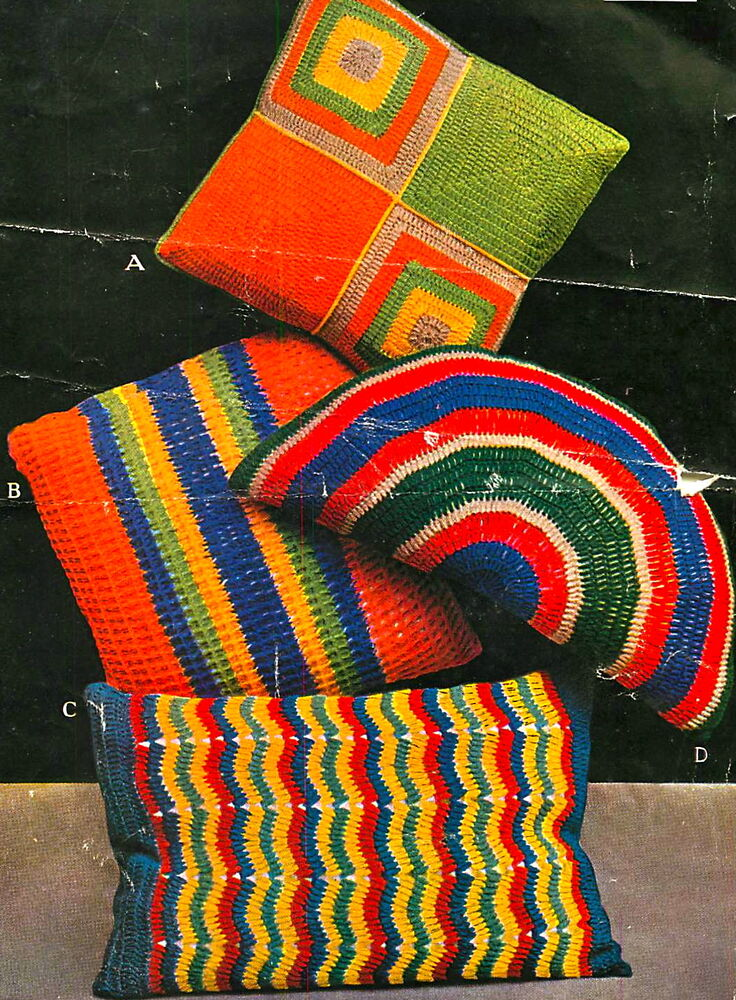 vintage crochet pattern how to make 1930s art deco colourful rainbow cushions ebay. Black Bedroom Furniture Sets. Home Design Ideas
