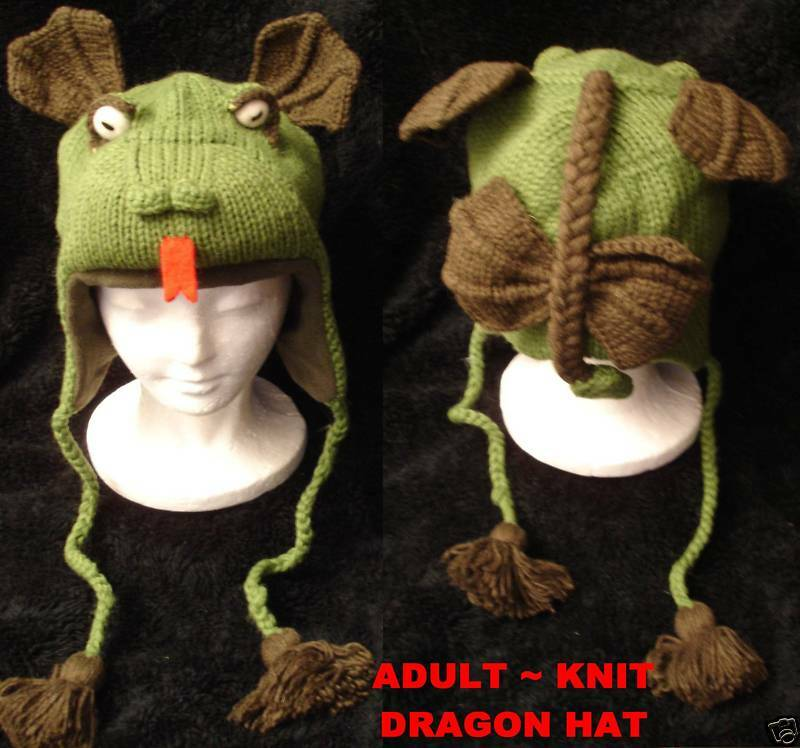 Knitting Pattern Dragon Hat : deLux DRAGON HAT knit ADULT costume FLEECE LINED toque ...